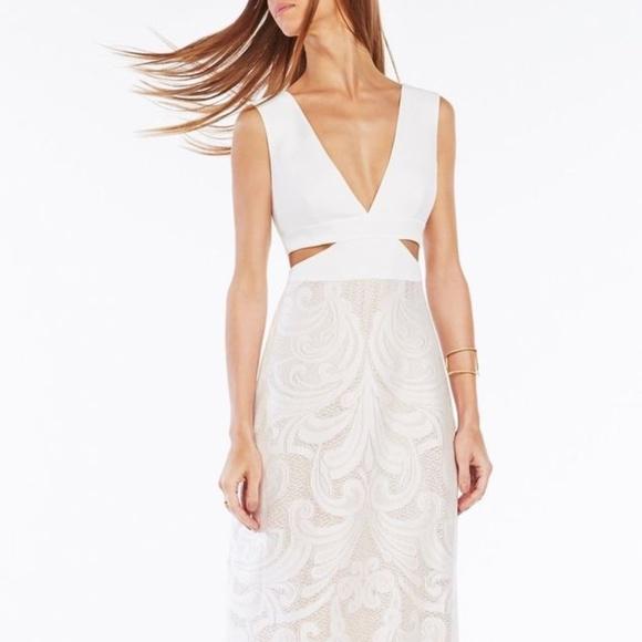 BCBG Dresses | White Maryline Long Dress With Lace | Poshmark